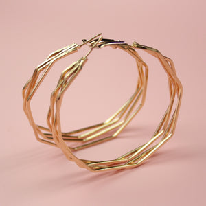 4 Layer Polygon Earrings (Gold Plated) - Sour Cherry
