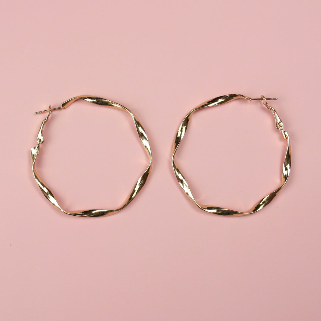 50mm Twisted Hoops (Gold Plated)