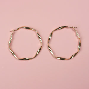 50mm Twisted Hoops (Gold Plated) - Sour Cherry