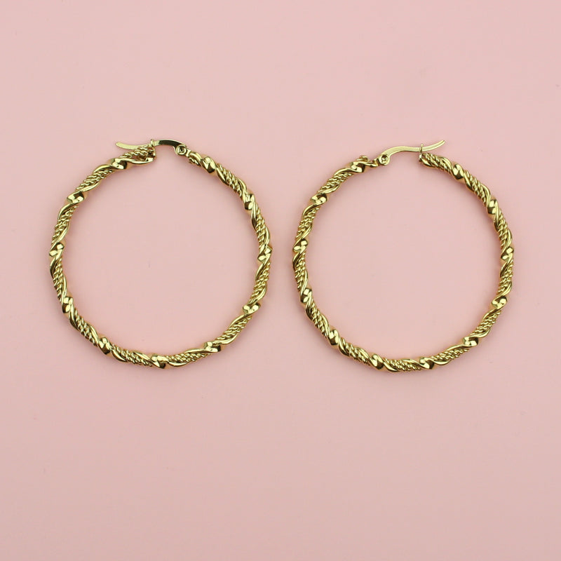 50mm Chunky Twisted Hoop Earrings (Gold Plated)