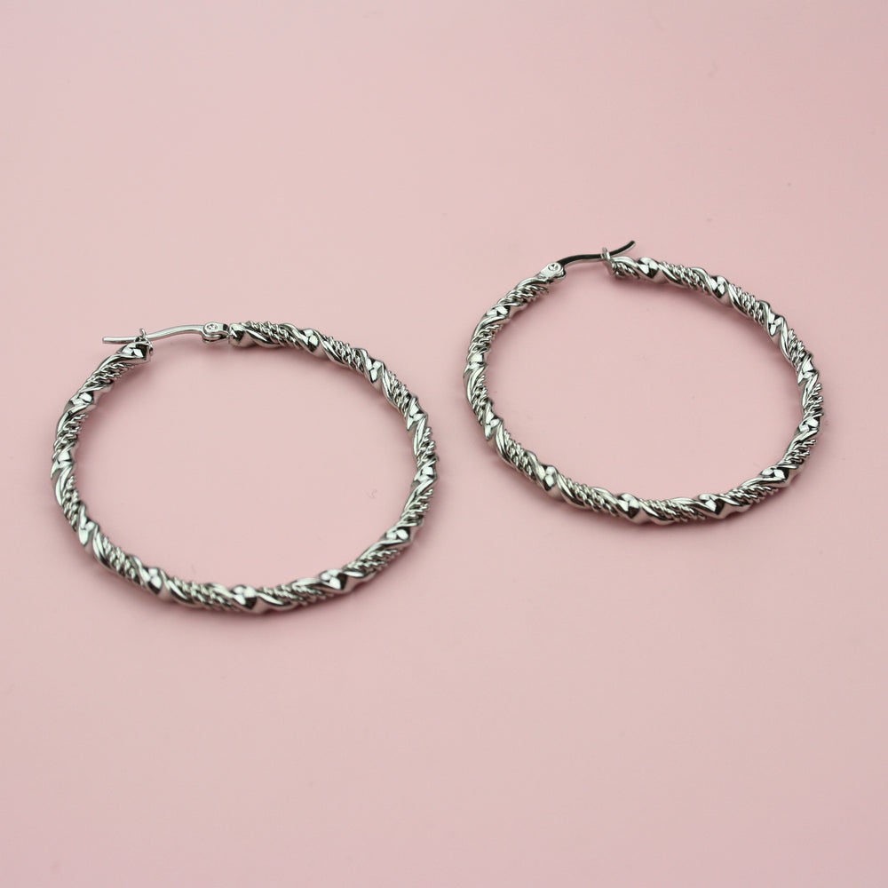 Load image into Gallery viewer, 50mm Chunky Twisted Hoop Earrings