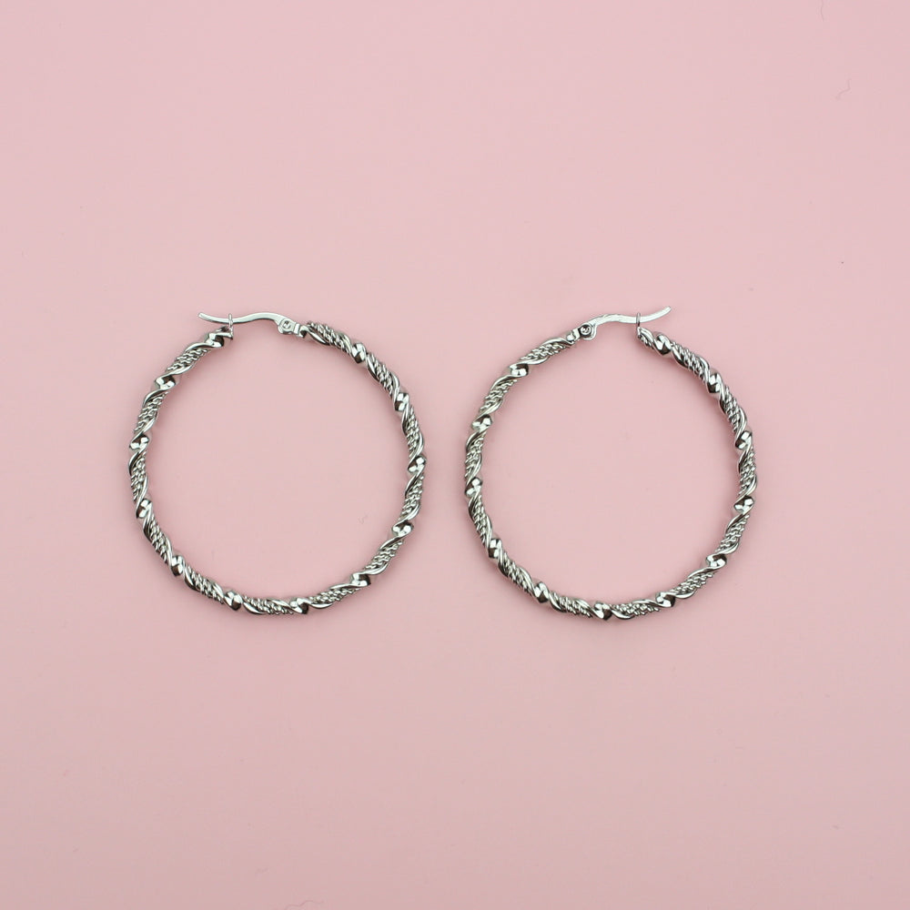 50mm Chunky Twisted Hoop Earrings