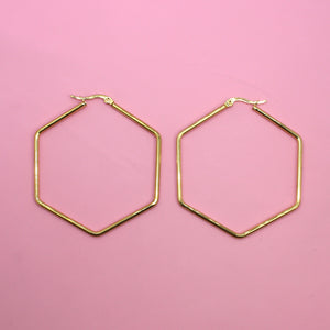 55mm Rounded Hexagon Hoop Earrings - Sour Cherry
