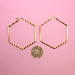 55mm Rounded Hexagon Hoop Earrings