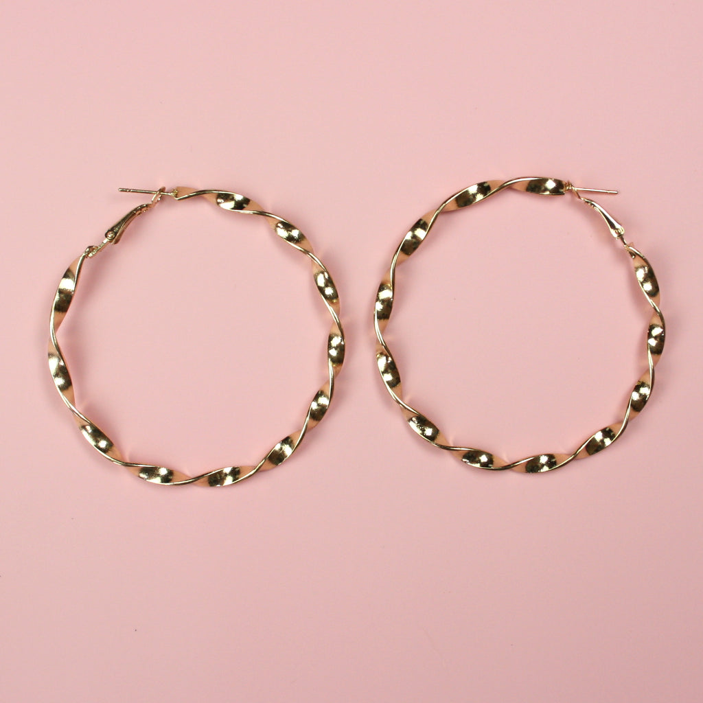 60mm Twisted Hoops (Gold Plated)