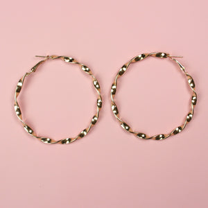 60mm Twisted Hoops (Gold Plated) - Sour Cherry