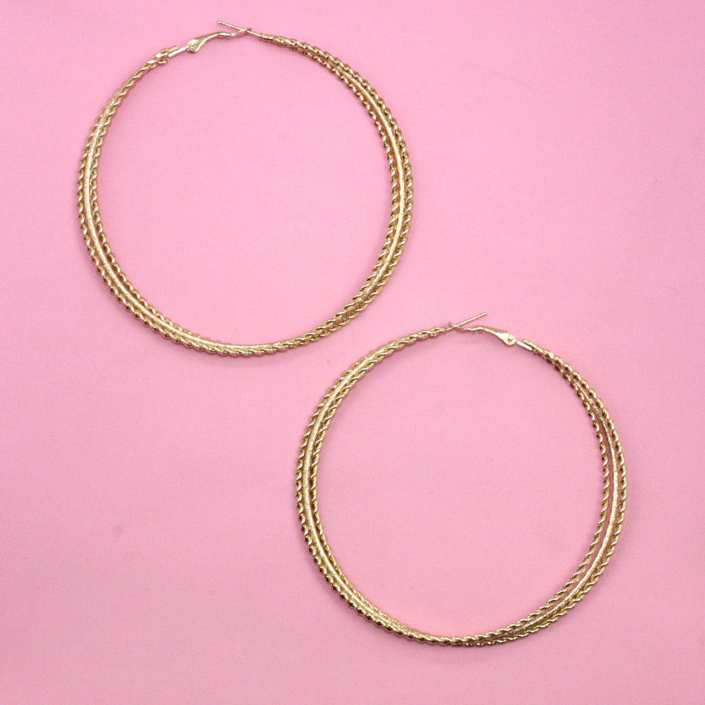 80mm Triple Twist Hoop Earrings - Sour Cherry