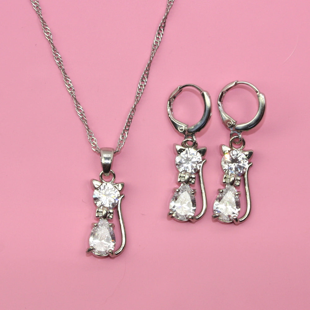 Cat Necklace & Earring Set (Sterling Silver) - Sour Cherry
