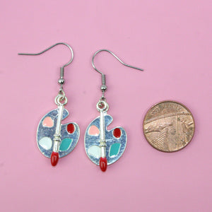 Artist Palette Earrings (Colour) - Sour Cherry