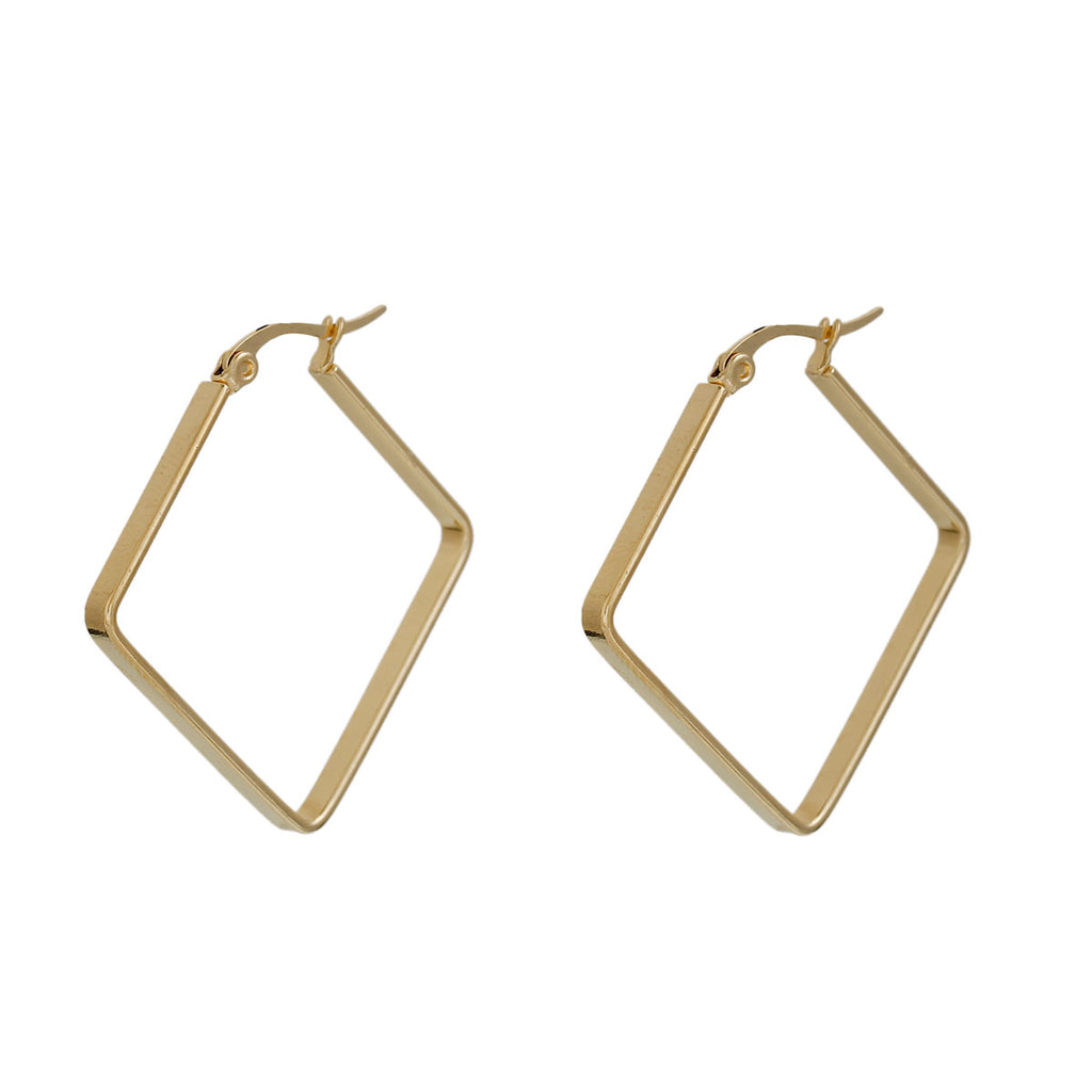 304 Stainless Steel Hoop Earrings Gold Plated Rhombus 38mm - Sour Cherry