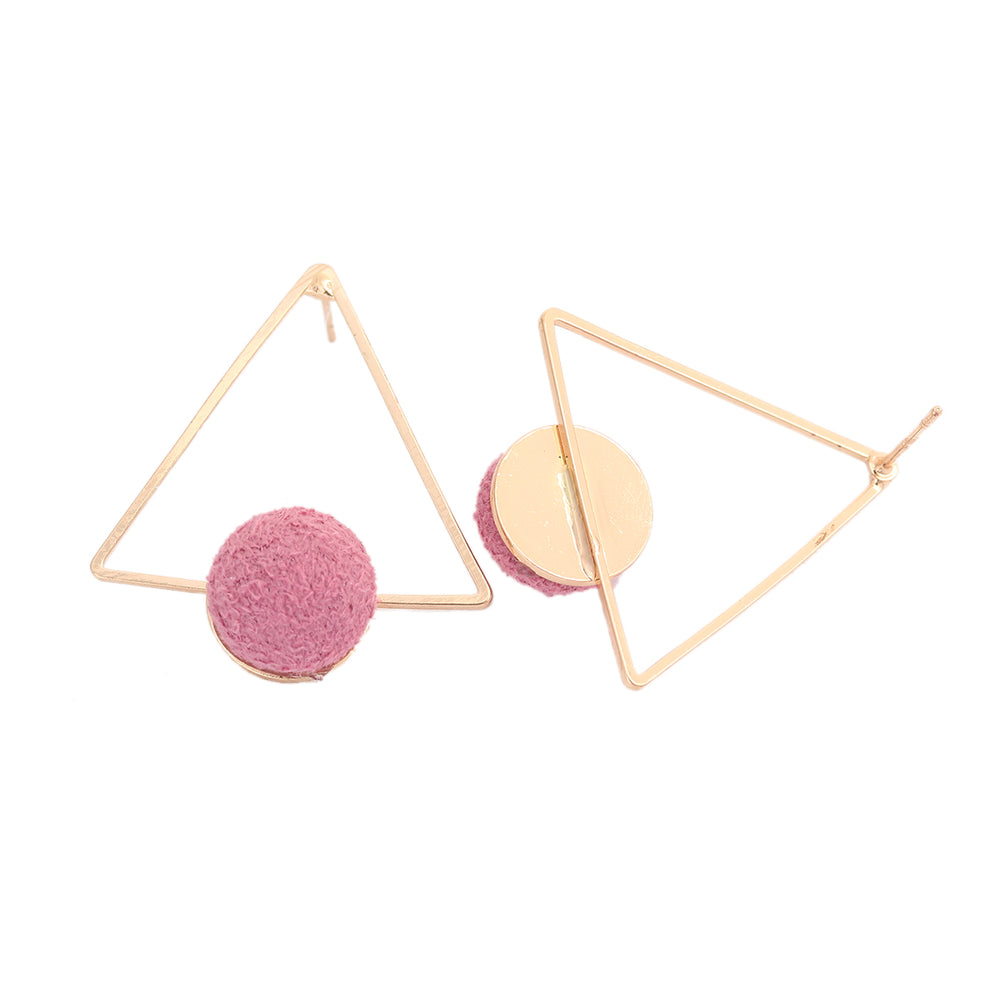 Load image into Gallery viewer, Pink Pom Pom Triangle Studs - Sour Cherry