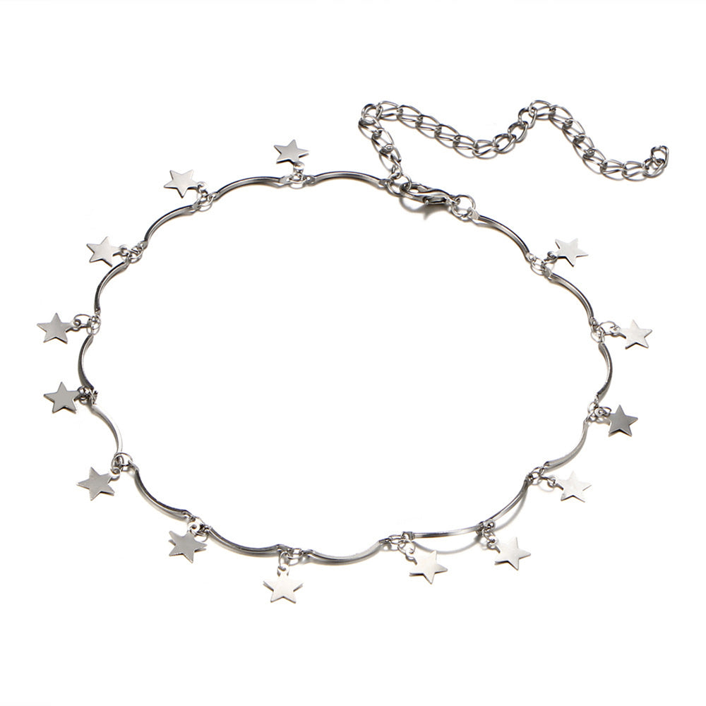 Wish Upon A Star Choker (Silver Plated) - Sour Cherry