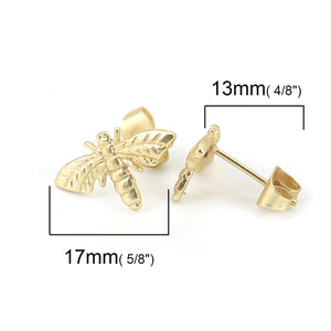 Honey Bee Stud Earrings (Gold Plated) - Sour Cherry
