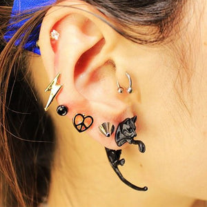 Black Cat 2 Piece Stud Earrings