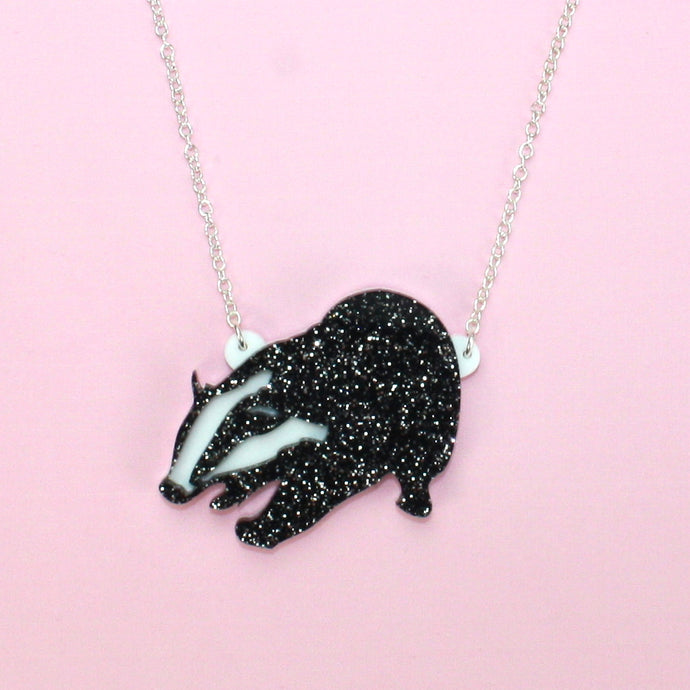 Glitter Badger of Honour Necklace