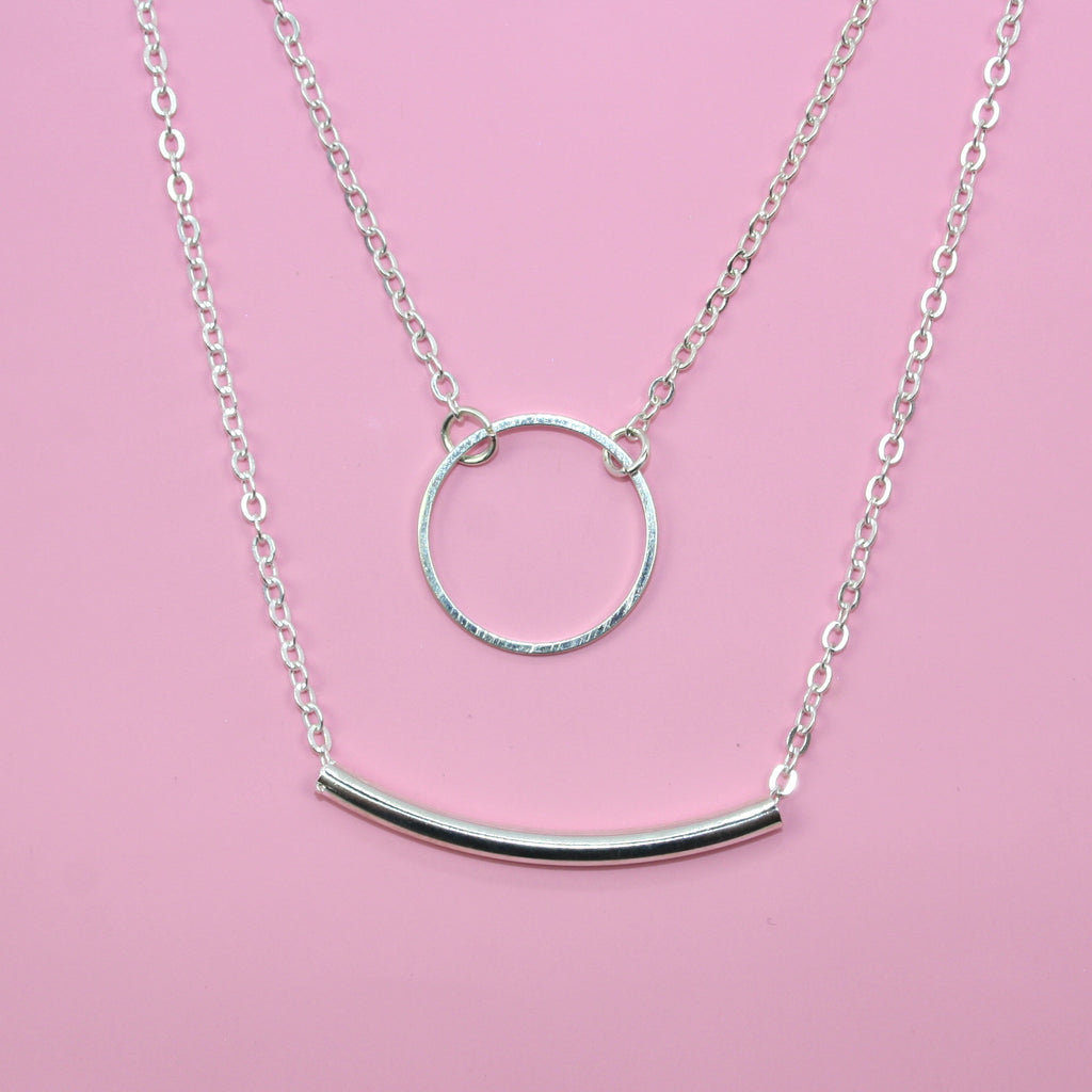 Bar & Circle Layer Necklace (Silver Plated)