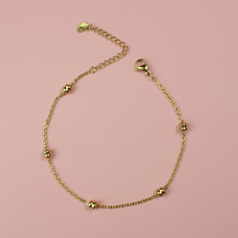 Beaded Anklet (Gold Plated) - Sour Cherry