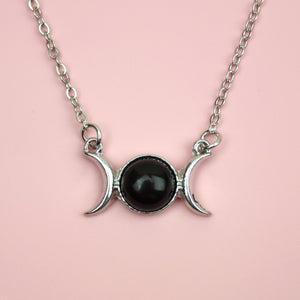 Black Agate Moon Necklace
