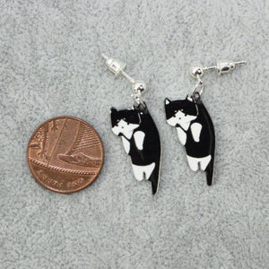 Load image into Gallery viewer, Black & White Cat Earrings - Sour Cherry