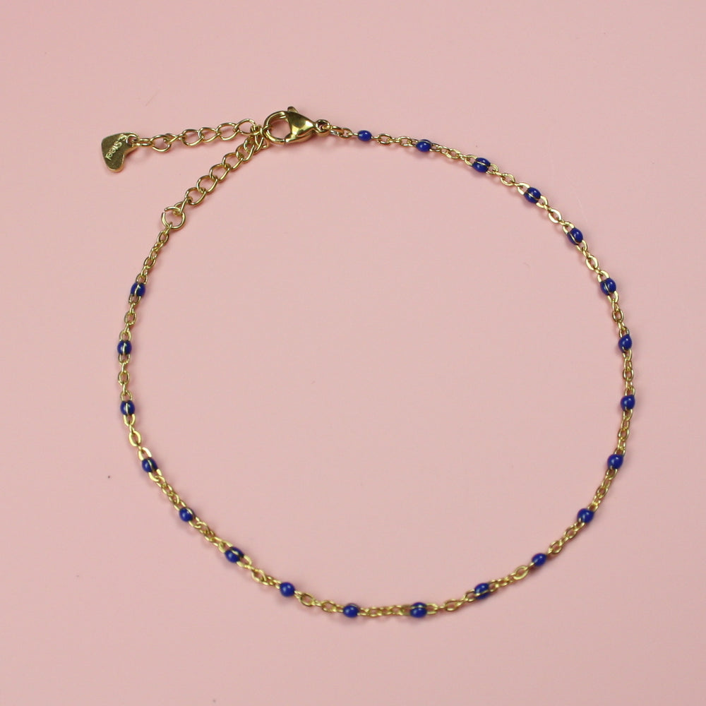 Blue Beaded Anklet (Gold Plated) - Sour Cherry