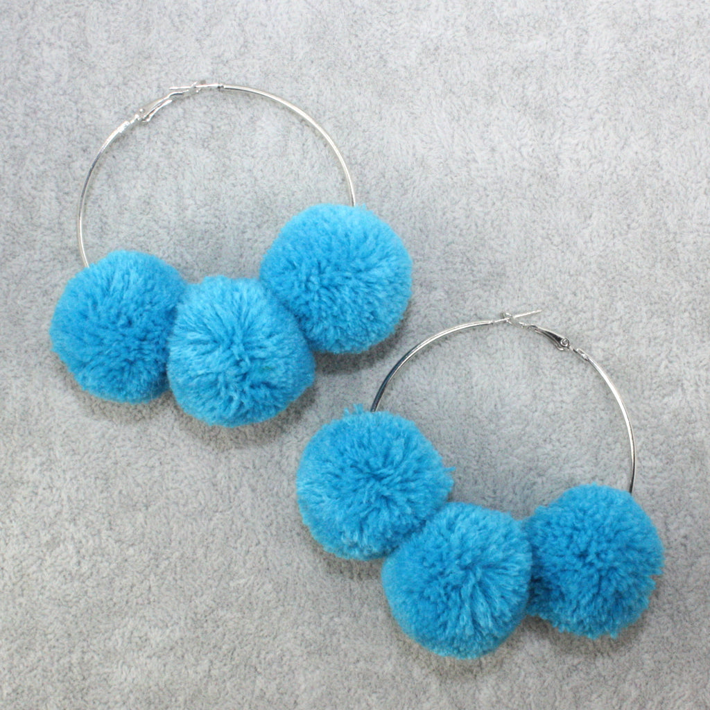 Blue Pom Pom Hoop Earrings - Sour Cherry