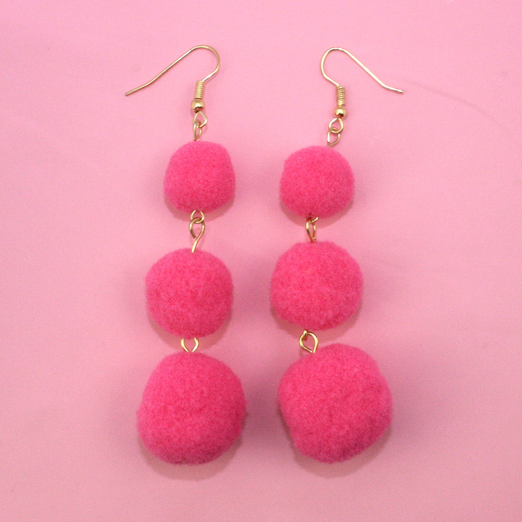 Bright Pink Triple Pom Pom Drop Earrings - Sour Cherry