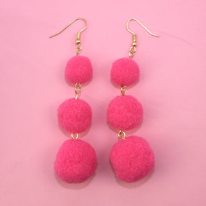 Load image into Gallery viewer, Bright Pink Triple Pom Pom Drop Earrings - Sour Cherry