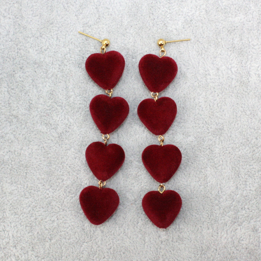 Burgundy Heart Earrings - Sour Cherry