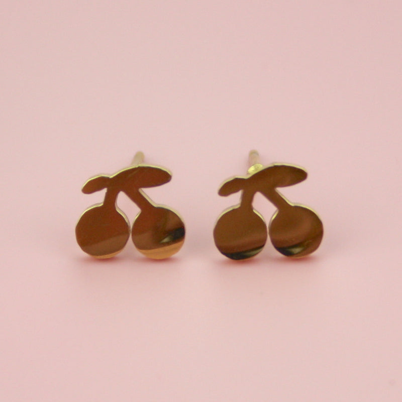 Tiny Cherry Stud Earrings (Gold Plated) - Sour Cherry