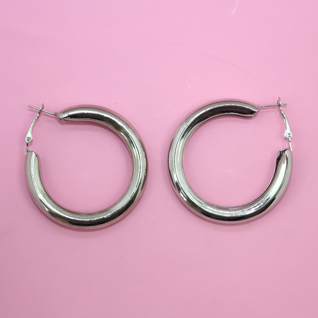 Chunky Hoops (Silver Plated)