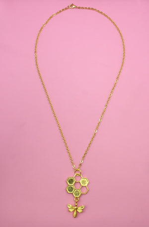 Circle Honeycomb and Bee Necklace (Gold Plated) - Sour Cherry