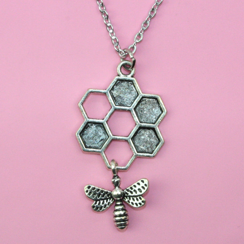 Circle Honeycomb and Bee Necklace (Stainless Steel) - Sour Cherry