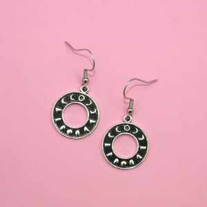 Circle Moon Phase Earrings - Sour Cherry