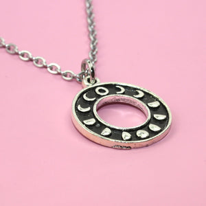 Circle Moon Phase Necklace - Sour Cherry