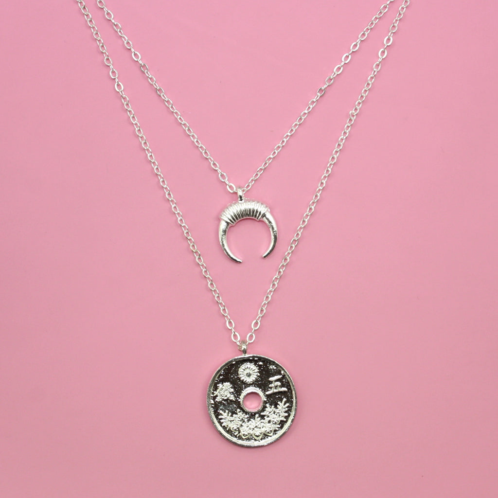 Coin & Moon Layer Necklace