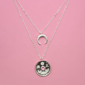 Coin & Moon Layer Necklace - Sour Cherry