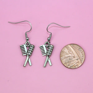 Comb and Hairbrush Earrings - Sour Cherry