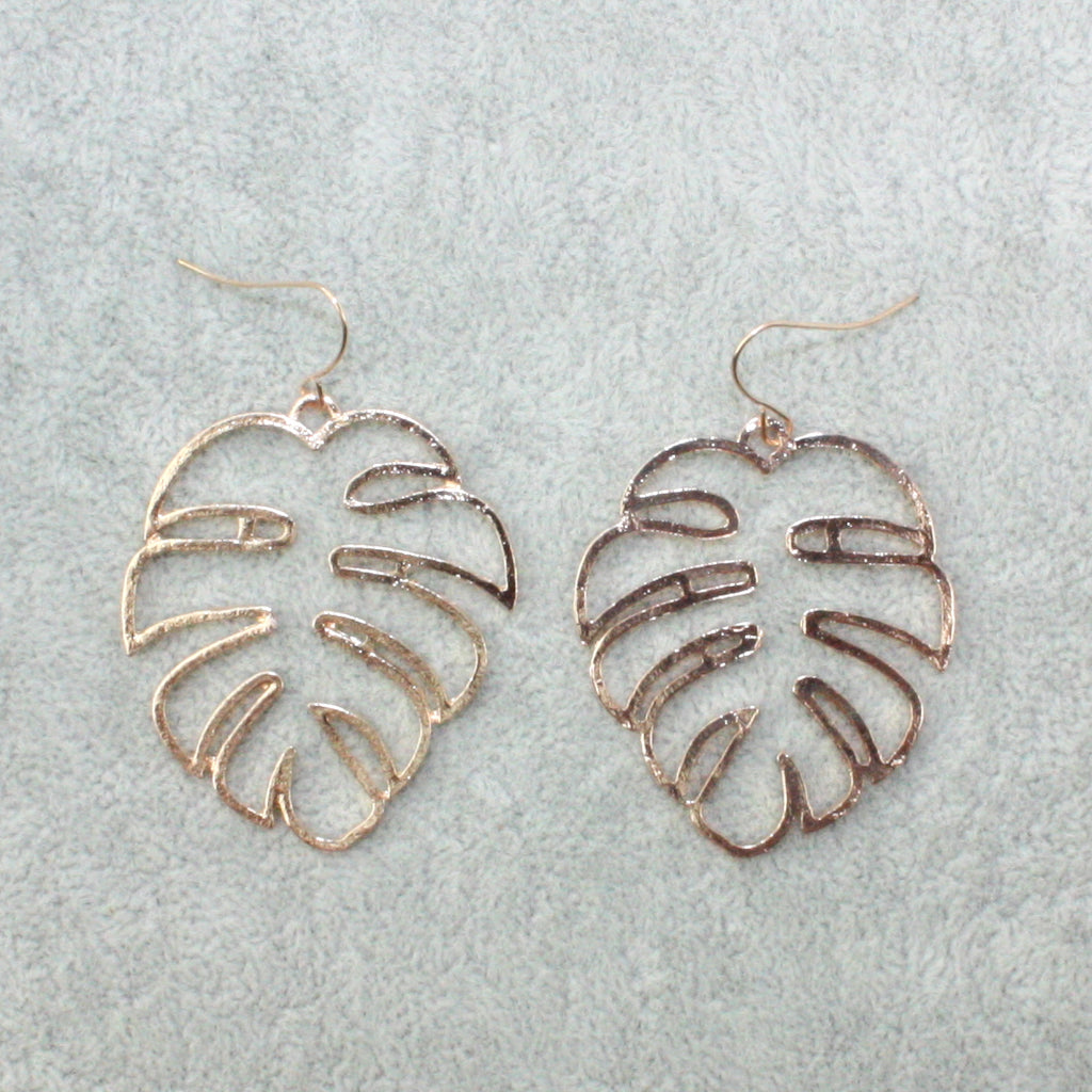 Cut Out Monstera Earrings (Gold Plated) - Sour Cherry