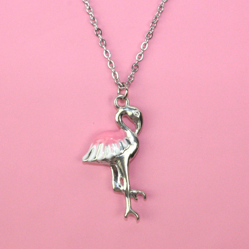 Enamelled Flamingo necklace - Sour Cherry