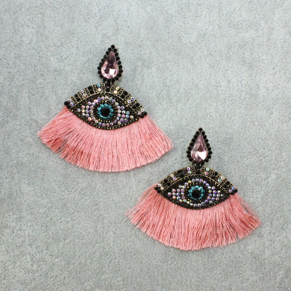 Eye Tassel Stud Earrings (Pink) - Sour Cherry
