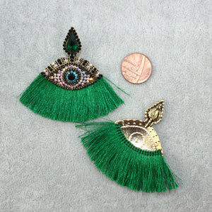 Eye Tassel Stud Earrings (Green) - Sour Cherry