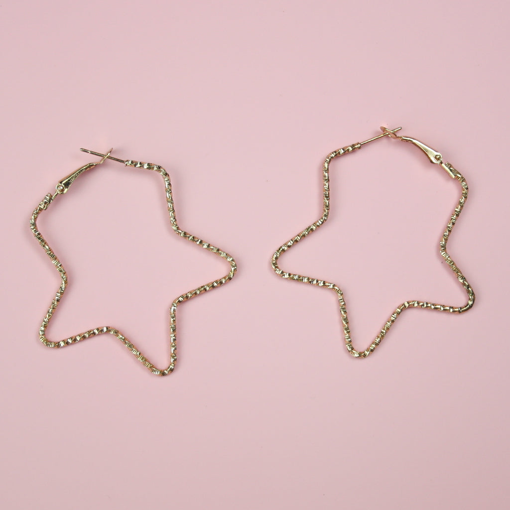 Faceted Star Hoop Earrings (Gold Plated)