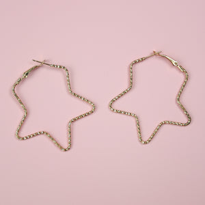 Load image into Gallery viewer, Faceted Star Hoop Earrings (Gold Plated) - Sour Cherry