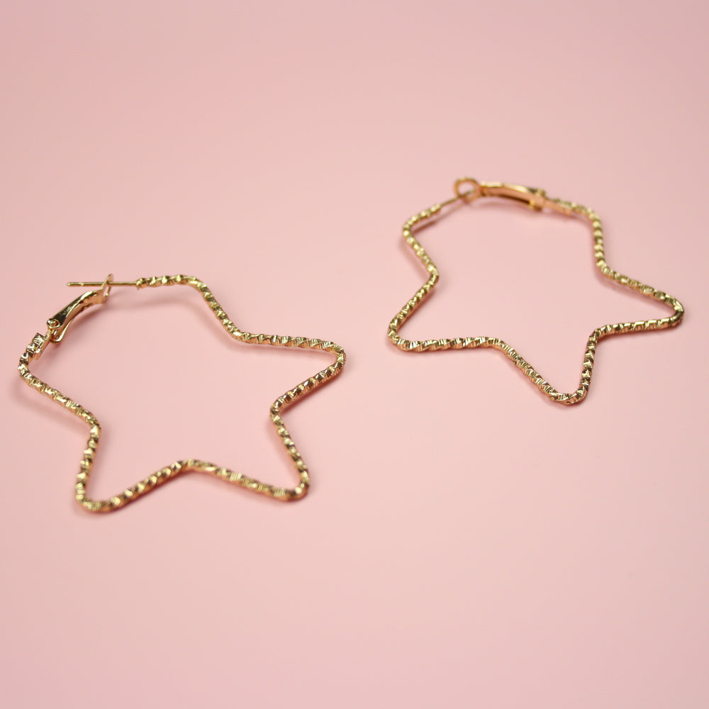 Faceted Star Hoop Earrings (Gold Plated) - Sour Cherry