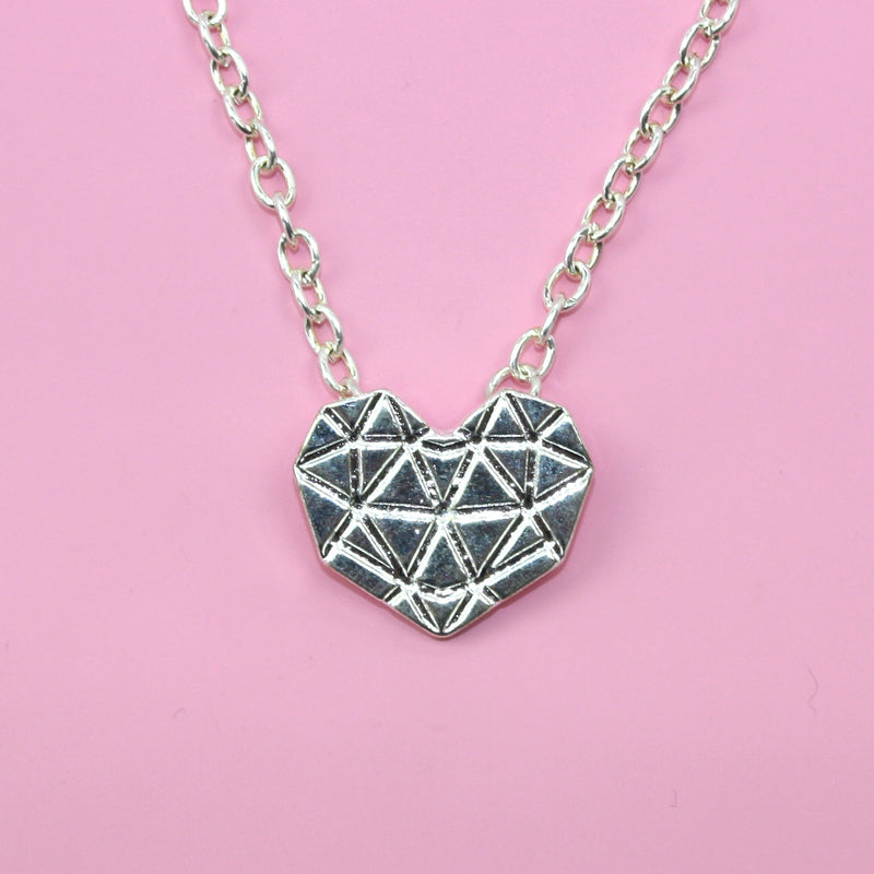 Geometric Heart Necklace (Silver Plated)