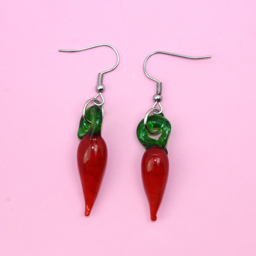 Glass Chili Earrings - Sour Cherry