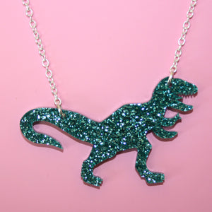 Glitter Green T-Rex Necklace