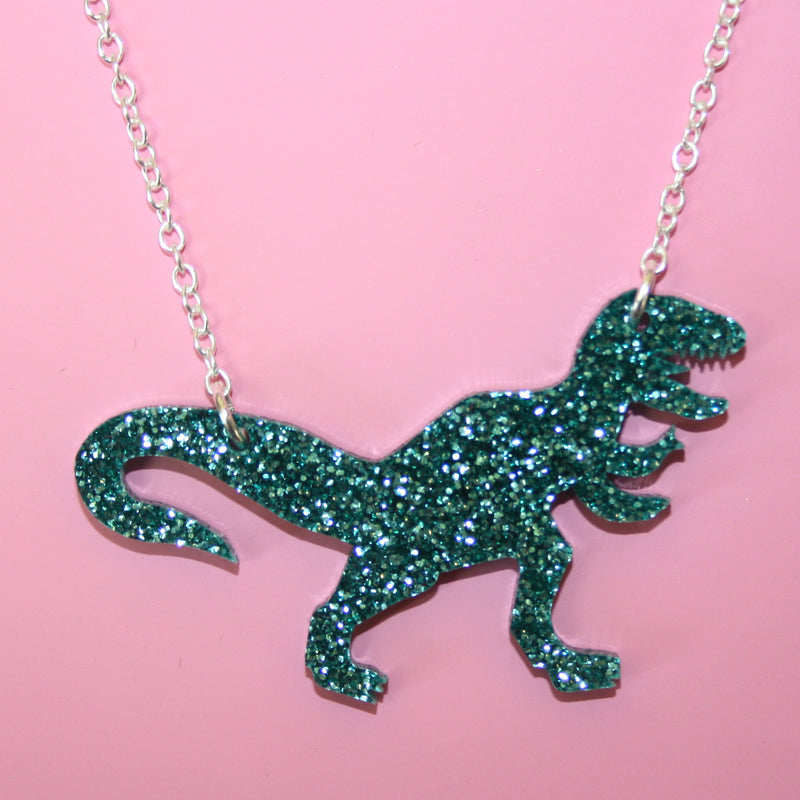 Glitter Green T-Rex Necklace - Sour Cherry