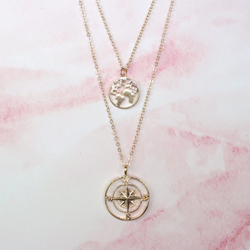 Compass & Globe Necklace (Gold Plated) - Sour Cherry