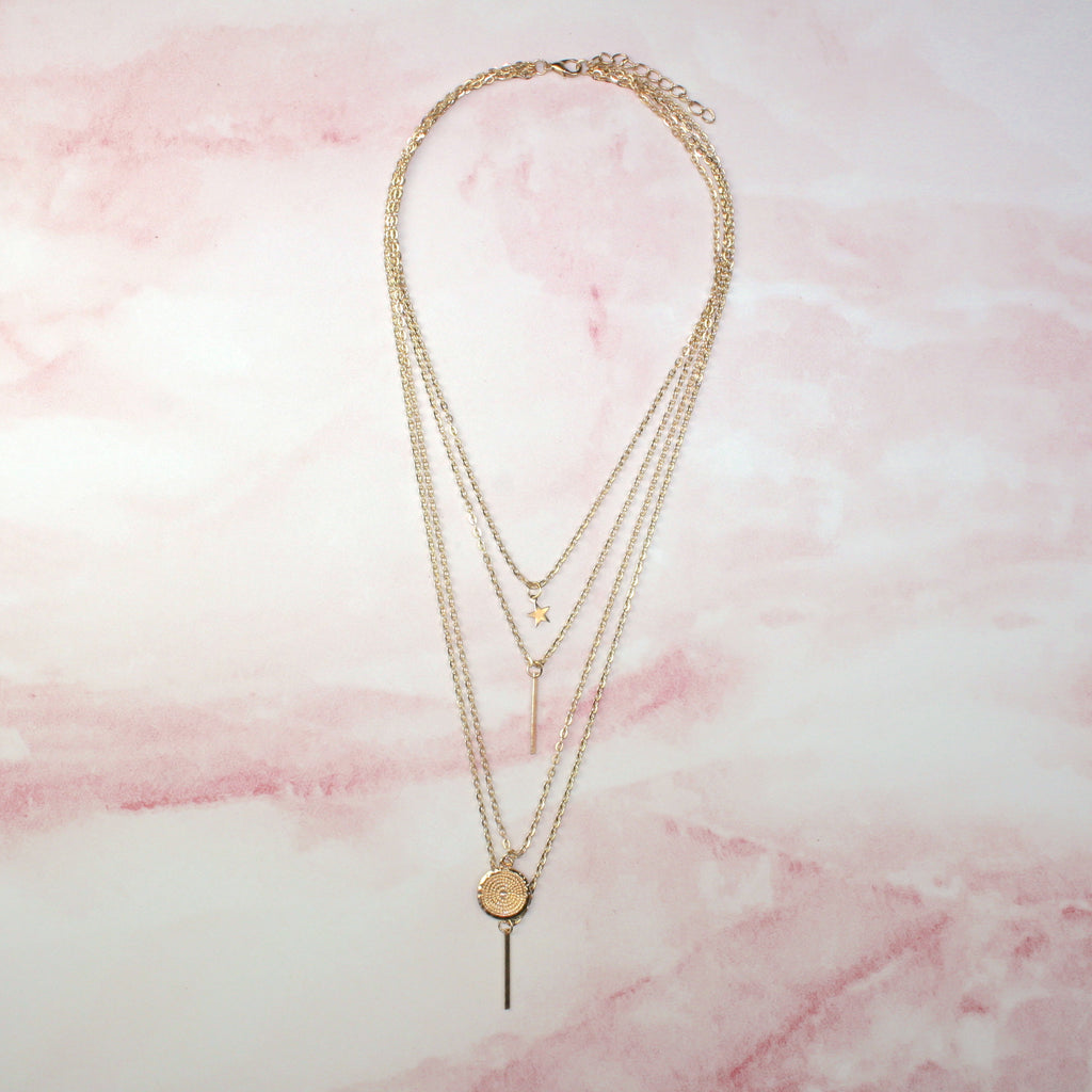 Multi Layer Star & Circle Necklace (Gold Plated)